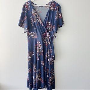 Soprano blue floral wrap maxi dress